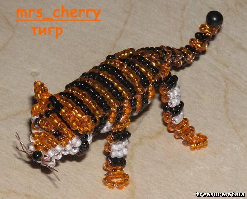 Тигр из бисера, схема плетения